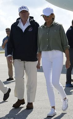 Chuck Taylor All Star Sneakers-Switching it up! Melania cut a much more casual figure when she joined her husband in Flor...