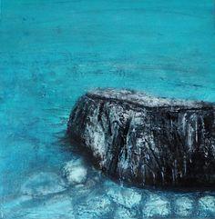 Felsen im Wasser . Mischtechnik . Original . 40/40 Lw/oR . ©Gabriele Dericks