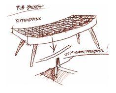 Benno Simma - Rib Furniture Bench - Drawing (1996)