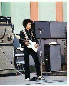 Hendrix working his chrome top Vox wah.