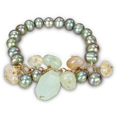 M by Miadora Goldtone Pistachio Pearl and Agate Stretch Bracelet ($28) ❤ liked on Polyvore featuring jewelry, bracelets, green, chains jewelry, agate bangle, gold tone bangles, green jewelry and pearl jewellery