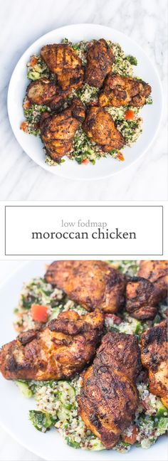 Spiced without being overly spicy, this Low Fodmap Moroccan Chicken is a delicious alternative to plain, grilled chicken! Gluten free, dairy free, paleo and whole30-friendly! | funwithoutfodmaps.com | #lowfodmap #chickenrecipes #whole30