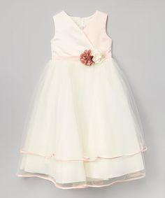 Love this Rose & Ivory Flower Surplice Dress - Toddler & Girls on #zulily! #zulilyfinds
