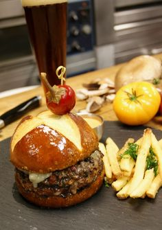 Recipe: Portobello and Pancetta Wagyu Beef Burger from Four Seasons Hotel Las Vegas.
