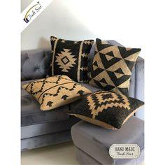 Vintage Kilim Jute Cushion Cover 18 x 18 Hand Woven 4 Pcs Rug Throw Pillow Cases Boho Throw Pillows, Throw Cushions, Throw Pillow Cases, Kilim Pillows, Jute Rug, Woven Rug, Sofa Cushion Covers, Hand Weaving, Wall Decor