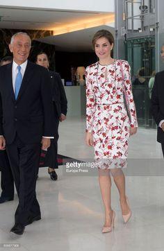 Queen Letizia of Spain and Marcelo Rebelo de Sousa attend European Conference 'Tabajo O Salud' against Cancer at Sheraton Porto Hotel on March 23, 2017 in Porto, Portugal.