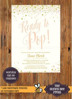 d7f9143f2a7 Ready to Pop baby shower invitation - Champagne Shower invitation - Pop  baby shower invitation -