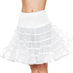 Description #83043 Longer, knee length petticoat is perfect for knee length costumes or layer it over another skirt for modesty. COLORS: WHITE, PINK, BLACK Includes: Petticoat Only Size: Adult Standar