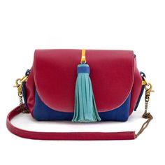 Mashka Maroon Blue Leather Bag | Lubochka