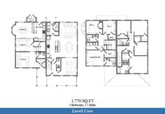 NAS Patuxent River – Lovell Cove Neighborhood: 3 bedroom 2.5 bathroom townhome floor plan (1770 SQ FT both floor plan types shown above).