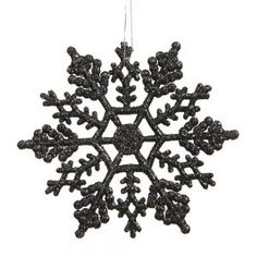 Black Glitter Snowflakes Christmas Tree Ornaments 24 Pack @rebelsmarket #rebelsmarket