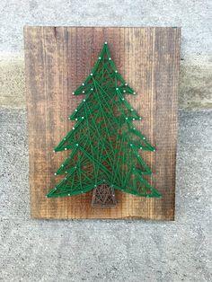 Items similar to christmas tree string art on etsy- Christmas Tree String Art Etsy Christmas, Diy Christmas Tree, Homemade Christmas, Christmas Projects, Christmas Time, Christmas Decorations, Christmas Ornaments, String Art Diy, Diy Natal