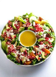 STYLECASTER | Winter Salads | Winter Salad Recipes | Pomegranate Mandarin Salad with Avocado and Feta