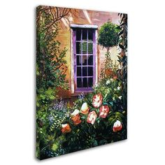 "Trademark Art ""Tuscany Villa Garden"" by David Lloyd Glover Painting Print on Wrapped Canvas Size:"