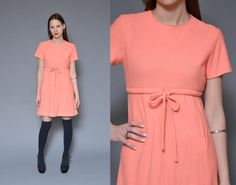 60s Mod Mini Dress Babydoll Dress S Salmon Pastel Pink KNIT Empire Waist Dress DOLLY Lolita Short Sleeve Minimal Twiggy Bow Tie Day Dress