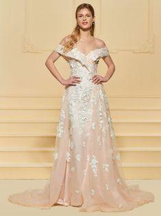 0ed3d459aa28 Off-The-Shoulder Trumpet/Mermaid Appliques Floor-Length Garden/Outdoor  Wedding Dress