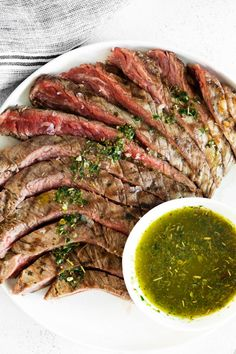 This homemade chimichurri flank steak is flavorful and grilled to perfection! If you're looking for the perfect summer grilling recipe this marinated flank steak is just what you need! Fancy Dinner Recipes, Delicious Dinner Recipes, Brunch Recipes, Sweets Recipes, Dinner Ideas, Grilled Vegetables, Grilled Meat, Veggie Recipes, Beef Recipes