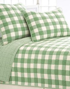 Green and white country home. Tiny check piping on the quilted pillow sham ~ elegant touch.