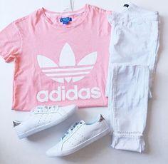 Pink short shirt, white jeans , white adidas