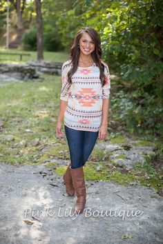 The Pink Lily Boutique - Southwest Blouse, $34.00 (http://www.thepinklilyboutique.com/southwest-blouse/)