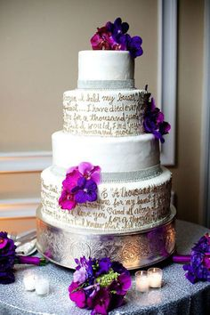 "Why We Love It: Incorporate the lyrics of your first dance song on your cake!Why You Love It: ""Beautiful!! I love that song."" —Sam F. ""Such a great concept for a cake."" —Danielle S. ""Good song, lovely cake!"" —Krystal L. ""Love! I almost did this!"" —Ashley A. ""Love this idea for personalizing the cake! Vows would work, too!"" —King's Event PlanningPhoto Credit: Millimeter Photography/Courtesy of Tantawan Bloom"