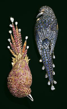 Exotic birds are brought to life with vivid shades of shining gemstones.