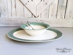 Vintage White Serving Platter and Bowl with by seedlingplantation