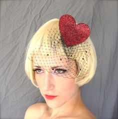 Red Sparkle Heart Eco Felt Hair Fascinator w/ Veil MADE TO ORDER Oh so Moulin Rouge. Love the burlesque look of this! $20