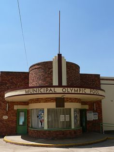 The Municipal Olympic Pool, Maryborough in central Victoria. Designed by local architect E. J. Peck opened 1940.