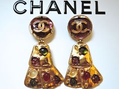 Chanel chunky oversized antique look Gripoix glass earrings from 1997.VINTAGE-FRANCE-DE-COUTURE by sincere_international