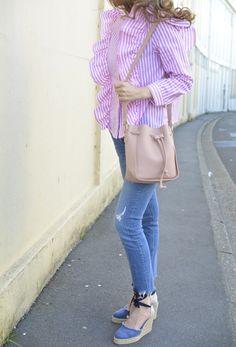 Pink stripes #style #blouse #Chemisier #volant #tendances #rayures #stripes #tenuedujour #lookdujou #SoFrenchByNaty #casual #castaner #castañer #espadrilles #bohochic #outfit #look #pink #alpargatas #candy #ruffles