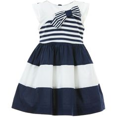 Mayoral Chic girls navy blue and white striped sleeveless dress made from soft, lightweight cotton with pretty frills on the shoulders and a bow trim on the chest. With a cool nautical feel, it has a gathered waist and a full lining, creating a girly shape, and a concealed zip to fasten at the back.<br /> <ul> <li>97% cotton, 3% elastane (soft with a slight stretch)</li> <li>Lightweight cotton blend lining</li> <li>Machine wash (30*C)</li> </ul>