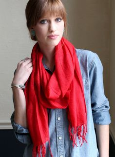 Women's Cozumel Soft Fashion Scarf (Red Valentine) at Amazon Women's Clothing store: Fashion Scarves // Holiday Gift Ideas for Her / Women's Red Scarves