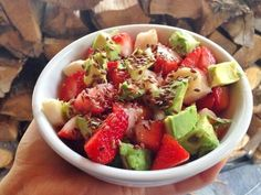 Banana, strawberry, & avocado salad topped with flaxseed and drizzled with honey. Feed Your Face! #Yum