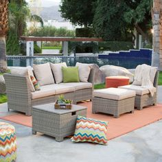 Coral Coast South Isle All-Weather Wicker Natural Conversation Set - Conversation Patio Sets at Hayneedle