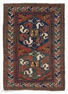 """Antique Karabagh Cloudband rug from the village of """"Chondzoresk"""" in Southern Caucasus. 5' x 7'3"""" (152x220 cm), late 19th Century."""