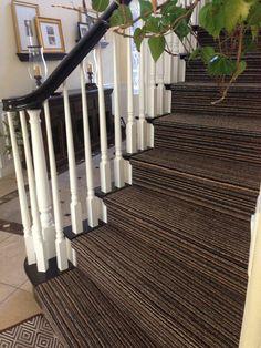 Most stripey stair carpets stripe vertically but horizontal stripes look nice too. Stairs Landing Carpet, Striped Carpet Stairs, Striped Carpets, Stair Landing, Textured Carpet, Carpet Design, Carpet Runner, Sweet Home, Flooring