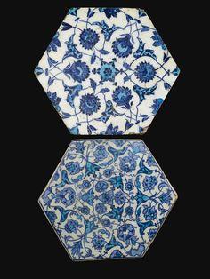 Iznik Hexagonal Tiles, first half of 16th century, Turkey
