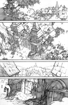 """pencil version of a page of the mini-serie """"world of warcraft-curse of the worgen"""" color version on the page of the great Tony Washington ! [link] wow curse of the Comic Book Layout, Comic Book Pages, Comic Book Artists, Comic Books Art, Environment Sketch, Environment Design, Background Drawing, Perspective Drawing, Storyboard"""