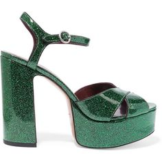 Marc Jacobs Debbie glittered leather platform sandals (5080 MAD) ❤ liked on Polyvore featuring shoes, sandals, heels, emerald, ankle strap heel sandals, ankle strap shoes, platform sandals, high heel sandals and leather strappy sandals