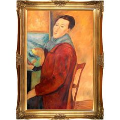 Self Portrait by Modigliani Framed Canvas Print