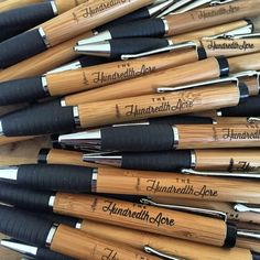 ✒️✒️✒️ Laser-etched bamboo, twist action, rubber grip, black refillable ink cartridge. No two are the same. Click link to buy: https://www.etsy.com/listing/279091348/the-hundredth-acre-branded-bamboo-pen?ref=shop_home_active_2 #Pen #Pens #✒️ #LagunaBeach #TheHundredthAcre #ThingsForThinkers