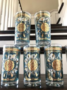 SALE Set of 6 Georges Briard Gold Medallion Turquoise Glasses