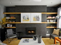 Lisa Mende Design: My Top 5 Favorite Charcoal Gray Paint Colors - fireplace brick painted out Grizzle Gray