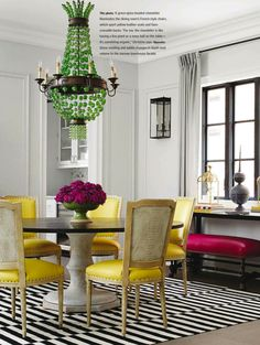 Dining room with pops of color. home decor and interior decorating ideas. Christine Hughes' Chic Chicago Home