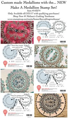 Custom made Medallions with the Make A Medallion Stamp Set, a NEW Sale-A-Bration stamp set that is now available. Created by Melissa Kerman, Stampin' Up! Demonstrator since 2003.