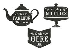 Black and white silhouette teapot cakestand signs monocrome poster