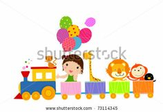 stock vector : cute train and girl