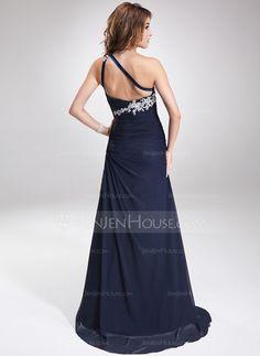 Forme Princesse Traîne balais Mousseline Robe de soirée avec Emperler Motifs appliqués (017016875)