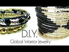 Tutoriel - D.I.Y. : Global Warrior Jewelry - Fil à mémoire de forme / memory wire cuff bracelet - YouTube Memory Wire Jewelry, Memory Wire Bracelets, Wire Wrapped Jewelry, Diy Jewelry, Beaded Jewelry, Jewelry Bracelets, Handmade Jewelry, Fashion Jewelry, Jewelry Design